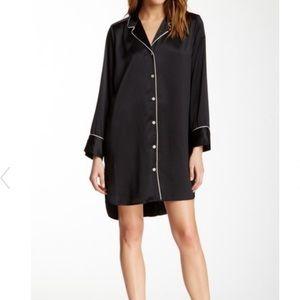Natori Black Silk Pajama Sleepshirt